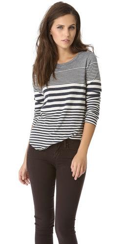 Vince Variegated Stripe Shirttail Tee