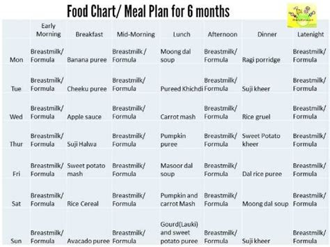 month baby food chart indian food chart   months