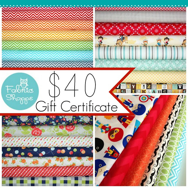 $40 Fabric Shoppe Gift Certificate for Friday's Fabric Giveaway!!