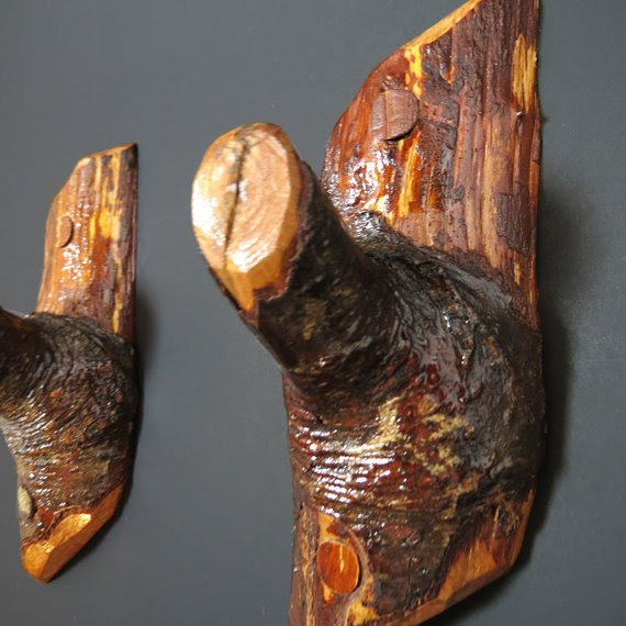 Wall hooks - Wall Decor Pair Wood Hooks - Coat hooks - Wooden ...