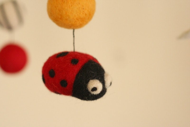 Entomology - Bugs and Insects - Felted Wool Mobile - Eco Friendly - Natural - Baby