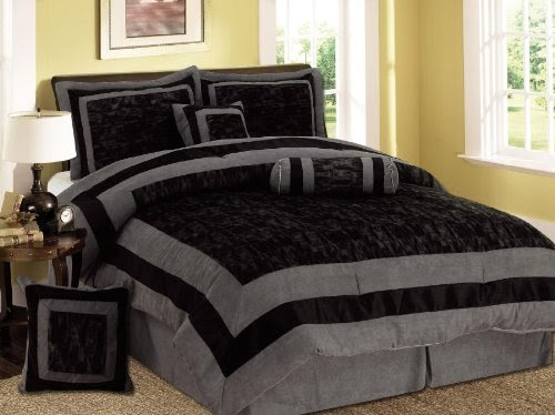 black bedroom comforter sets comforter sets 7 pieces black and grey micro suede 14565