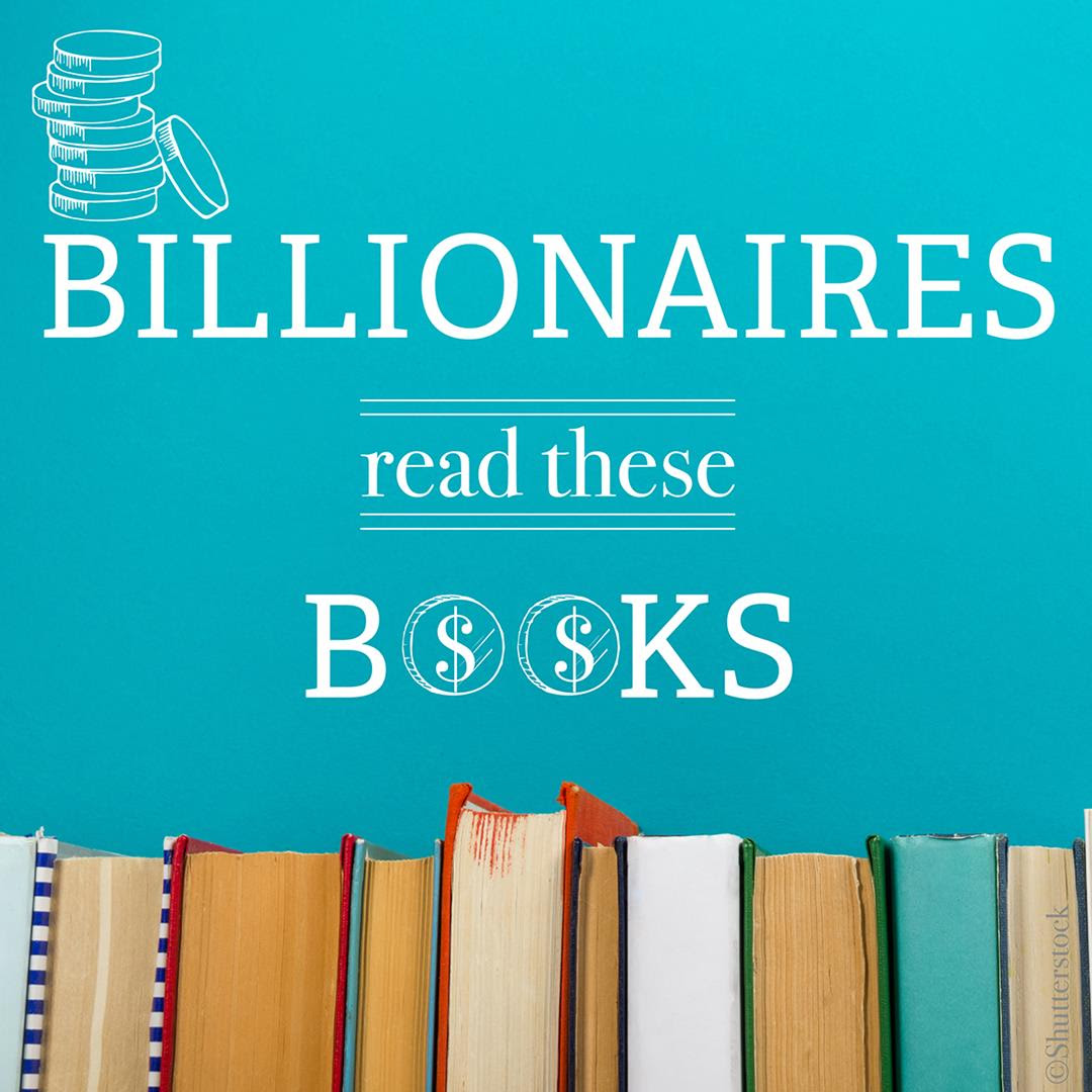 """Row of books with caption """"Billionaires read these books"""". (State Dept. / S. Wilkinson)"""