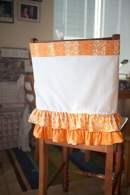 Chair back cover with Ruffles