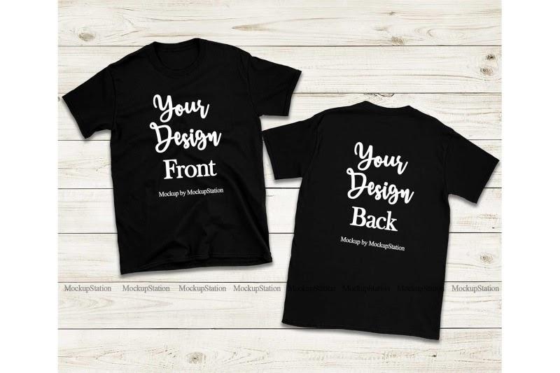 Download Free Front & Back Black Tshirt Mockup, Gildan 64000 Shirt ...