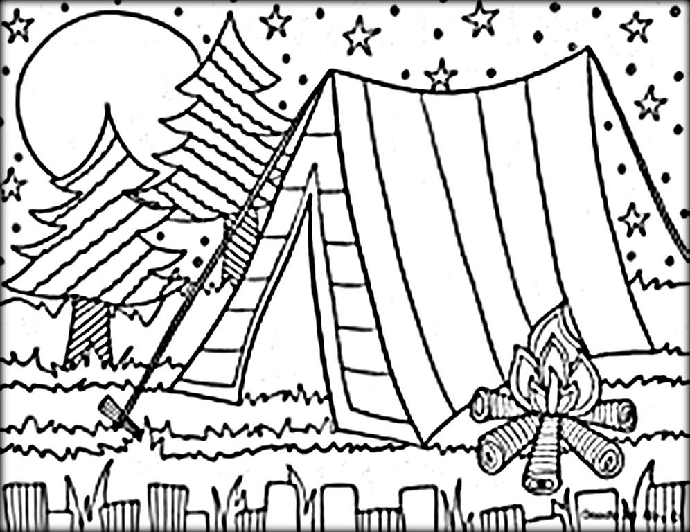 Camping Tent Coloring Page at GetDrawings | Free download