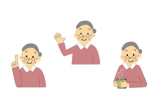 フリー素材 いろいろな表情やポーズのおばあちゃんのイラスト