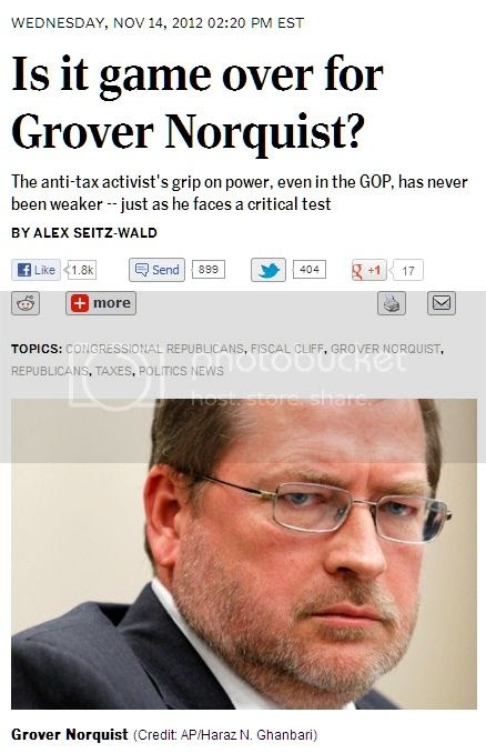 screenshot of headline: 'Is it game over for Grover Norquist?'