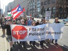 Committee Against FBI Repression contingent at the Chicago anti-war demonstration held on March 19 commemorating the 8th anniversary of the U.S. imperialist occupation of Iraq. Demonstrations took place across the U.S.  by Pan-African News Wire File Photos