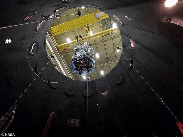 Nasa has begun testing its new probe that will 'touch the sun', when it launches into space this summer. The Parker Solar Probe (pictured) will spendseven weeks in vacuum chamber, simulating theharsh conditions that the spacecraft will experience in space