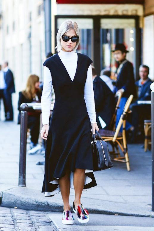 Le Fashion Blog Street Style Casual Cool Layered Spring Look Linda Tol Black Deep V Neck Dress White Turtleneck Colorful Furry Slip On Sneakers Via Refinery29