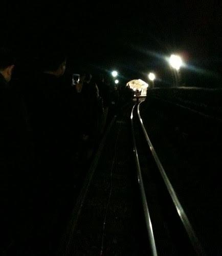 Photo by @HitGirlAssassinl walking through tunnel on Jubilee Line