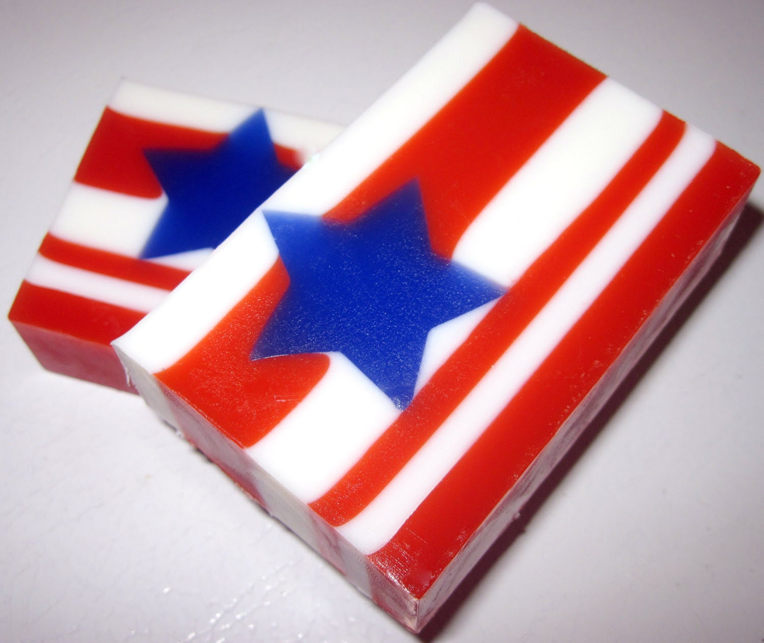 "Patriotic ""American Pride"" (Flag) Soap - Handmade Natural Glycerin soap Apple and Cherry Pie - StardustSoaps"