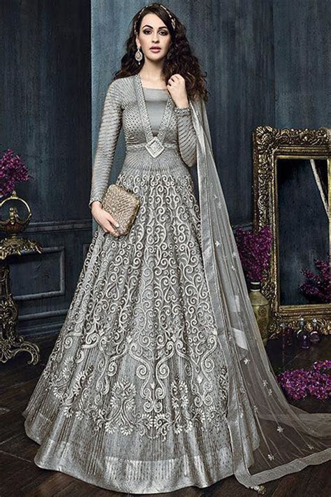 Grey Color Attractive Indian Bride Wedding Wear Fancy
