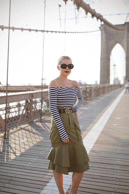 Le Fashion Blog Preppy Chic Style Gucci Belt Striped Off The Shoulder Top Khaki Midi Skirt Black Mules Via Atlantic Pacific