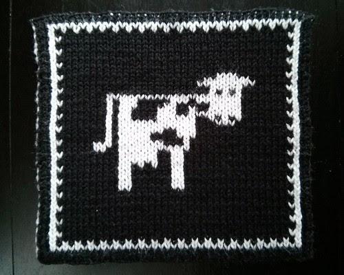 Double knit cow black side