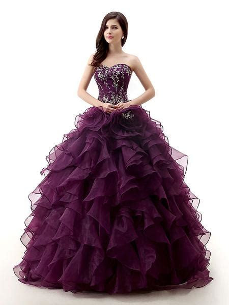Strapless Dark Purple Quinceanera Ball Gown Formal Dress