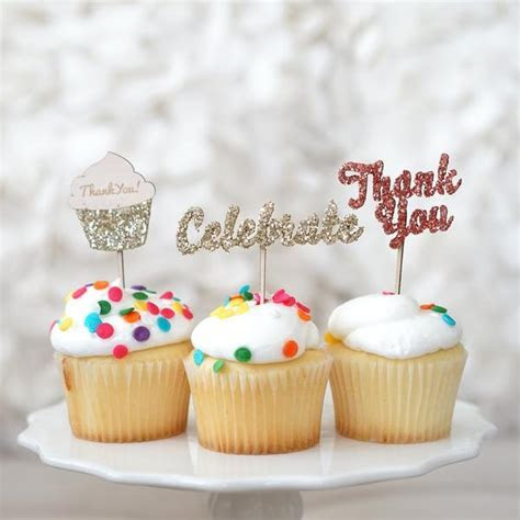 "Glitter Picks ""Celebrate"", ""Thank You"" for Cupcake & Cake"