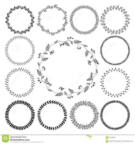 Big Collection Of Circle Cute Hand Drawn Floral Stock