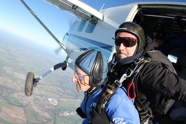 Thrillseeker: Nonagenarian Mr Hake leapt out of a plane 10,000 feet up