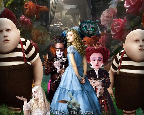 The characters of ALICE IN WONDERLAND.  Looks like the White Queen is trying to cop a feel.
