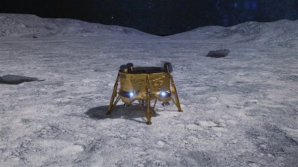 An artist's concept of the Beresheet lunar lander on the surface of the Moon.