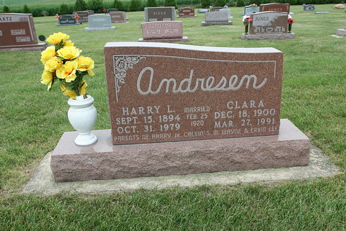 Tombstone of Harry and Clara Homire Andreson