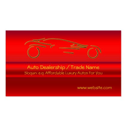 Gold Sports Auto on red metallic-look effect Double-Sided Standard Business Cards (Pack Of 100)