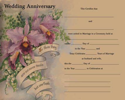 Anniversary Certificate   25th Anniversary Ideas