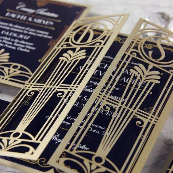 laser-cut gatefold Hochzeit, Einladungen in marineblau, gold und weiß