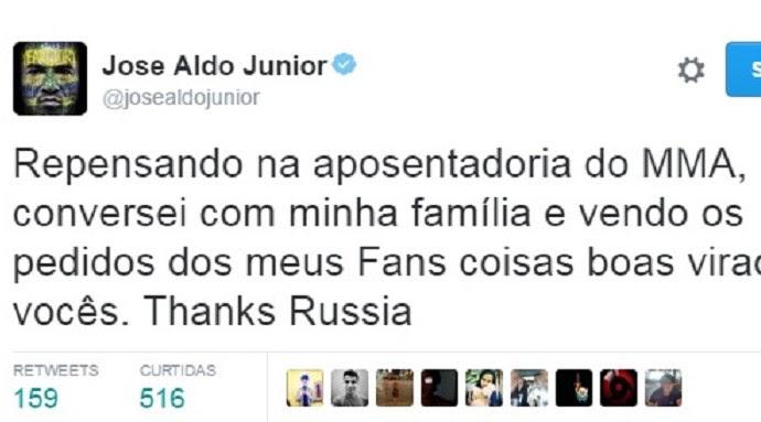 José Aldo diz repensar plano de aposentadoria do MMA (Foto: Reprodução)