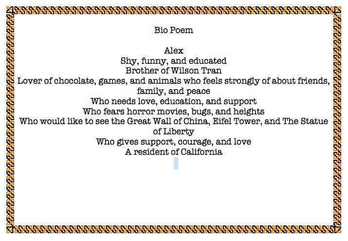 Name And Bio Poem By Lillian Bennett On Prezi