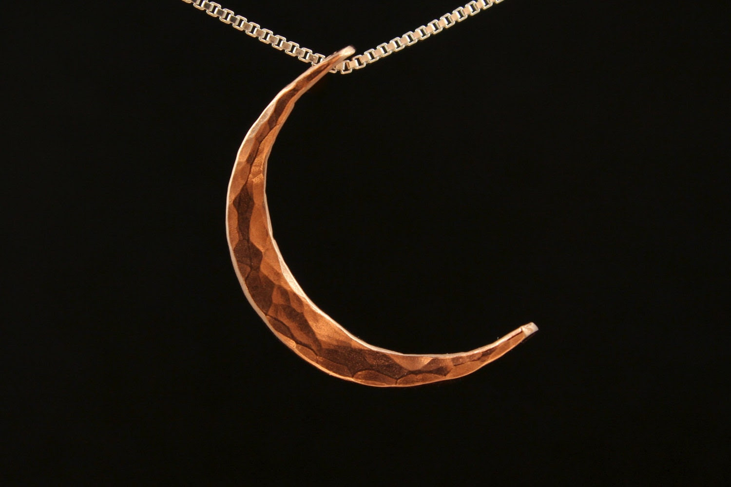 Hammered Copper Crescent Moon Pendant