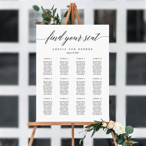 7 Sizes Wedding Seating Chart Template, Editable Wedding