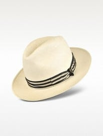 Borsalino Beige And Blue Stripe Band Real Panama Hat