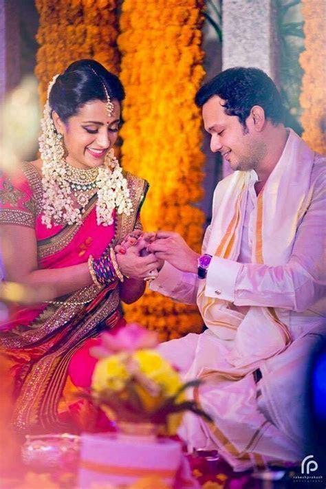 Coral Saree Trisha Engagement   Everything Indian