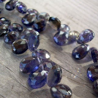 faceted iolite briolettes