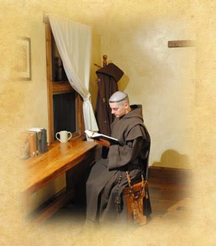 Carmelite monk reading
