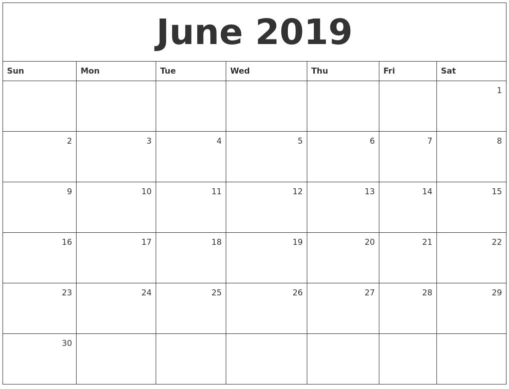 june 2019 monthly calendar