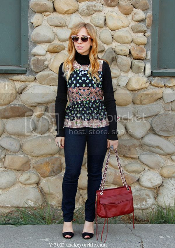 Topshop peplum top, Rag & Bone skinny jeans, Rebecca Minkoff Swing bag, Los Angeles fashion blog