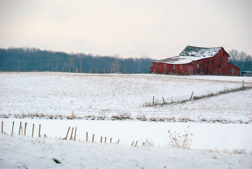 Snow covered farmland