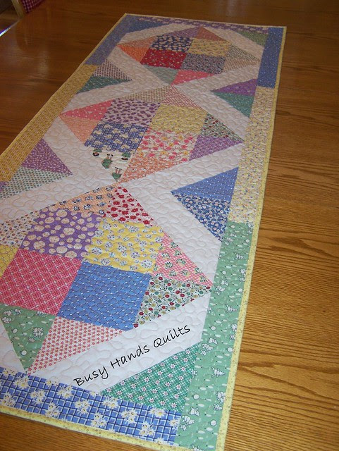 1930s Repro Disappearing 16 Patch Table Runner