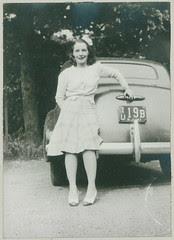 Woman on rear bumper