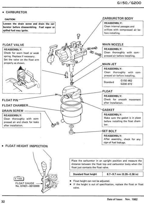 G150 G200 Engine Service Repair Shop Manual | Honda Power