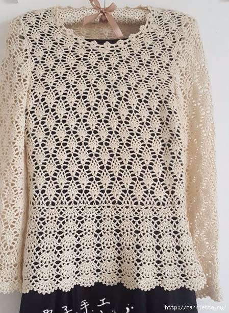 White openwork crochet blouse.  Schemes (3) (449x612, 298Kb)