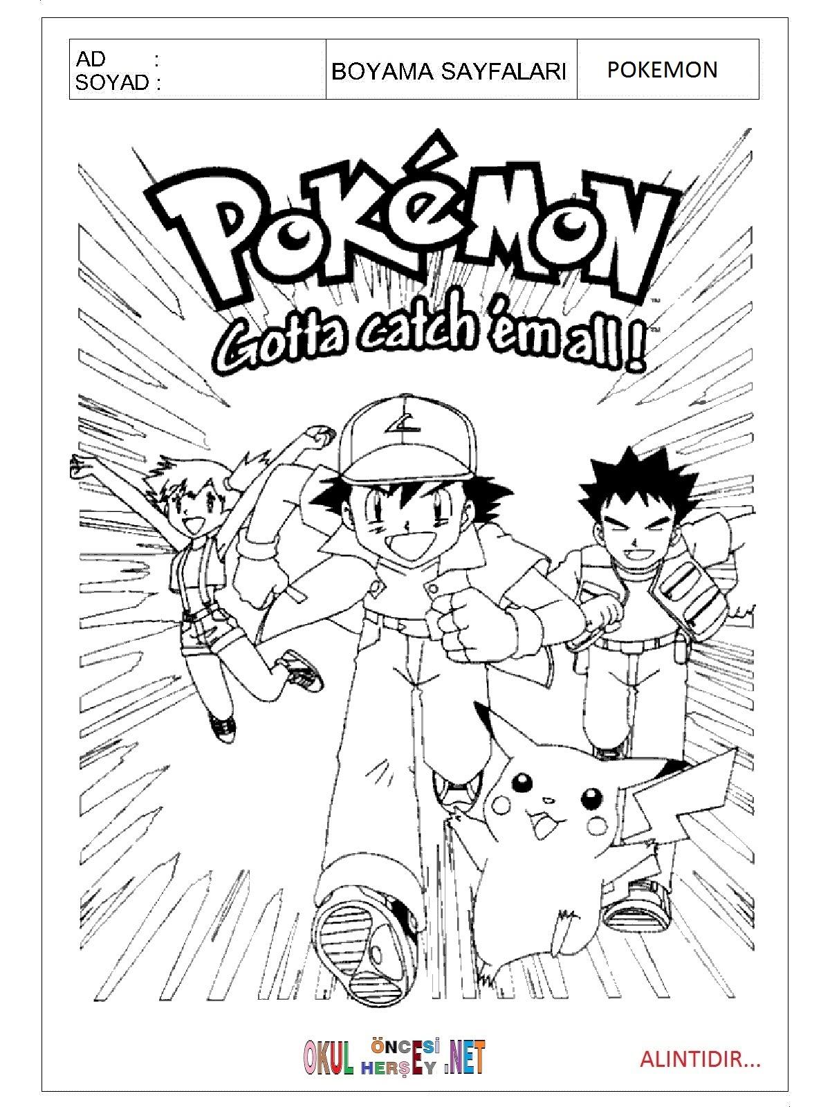 Pokemon Boyama Sayfalari