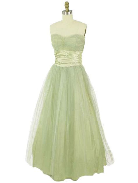 50s Sage Green Tulle Strapless Gown 1950s Vintage Dresses
