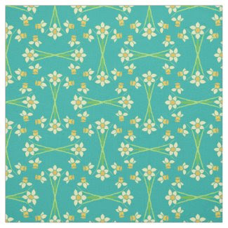 Custom Spring Daffodils on Teal Pattern Fabric