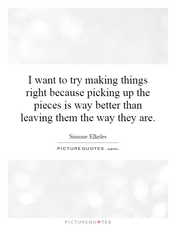 I Want To Try Making Things Right Because Picking Up The Pieces
