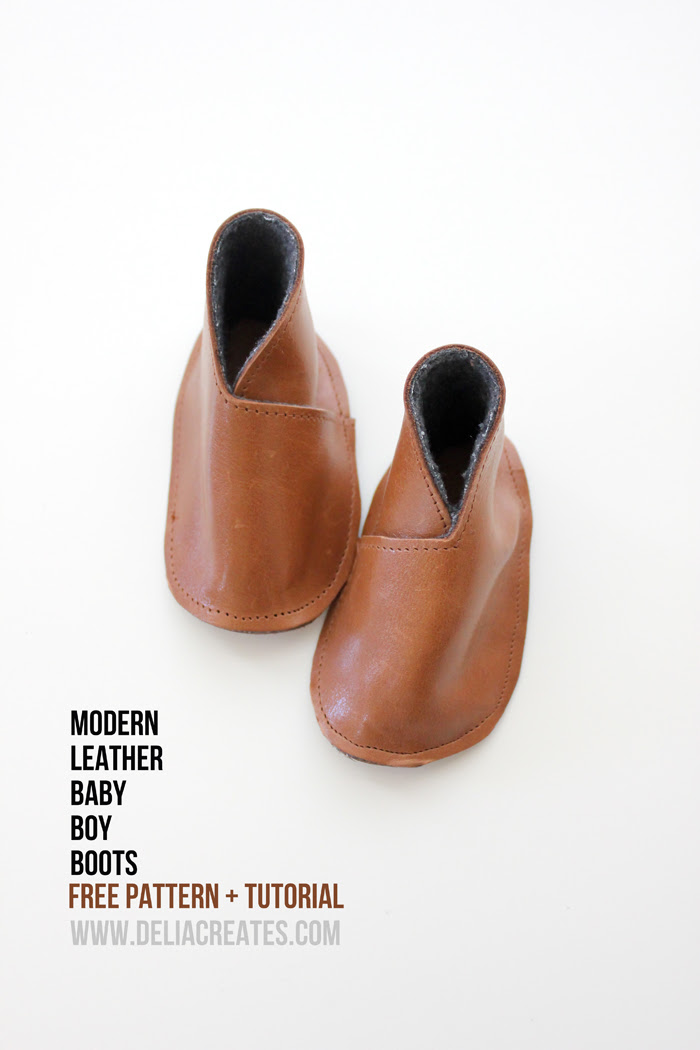 DIY Leather Baby Boy Boots - Free Pattern + Tutorial - Delia Creates (19)